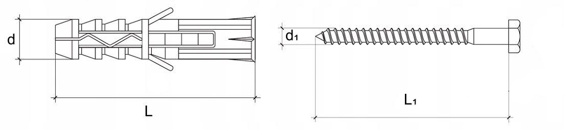 kołek rozporowy na klucz 6-kątny szkic