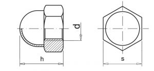 nakrętka kulista kołpakowa ocynkowana szkic