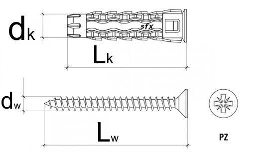 schemat kołek uniwersalny z wkrętem hartowanym, na krzyżak