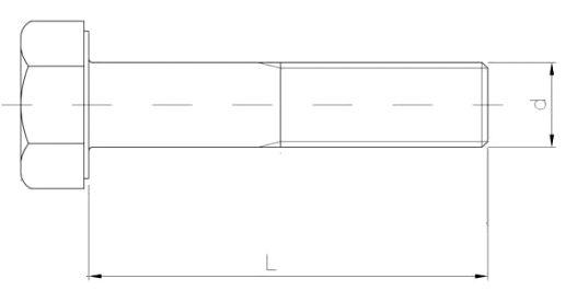 śruba z łbem 6-kątnym niepełny gwint ocynk biały kl. 8.8 szkic
