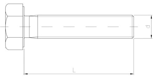 śruba z łbem 6-katnym pełny gwint ocynk biały kl. 8.8 szkic