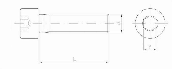 śruba z wgłębieniem imbusowym z gw na całości - kl.8.8, ocynk szkic