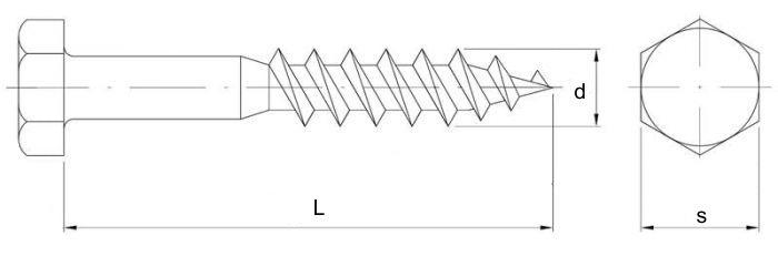 wkręt do drewna z łbem 6-kątnym biały ocynk szkic