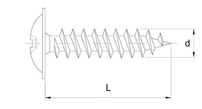 wkręt hartowany do drewna z łbem podkładkowym, ocynk biały szkic