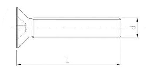 wkręt met z łbem stoż. płaskim, na krzyżak, ocynk, pełny gw. kl 4.8 szkic