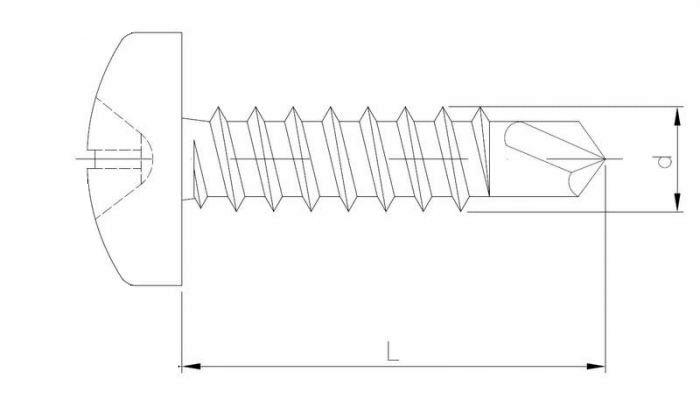 wkręt samowiercący, z łbem walcowym, ocynk biały (pchełka) szkic
