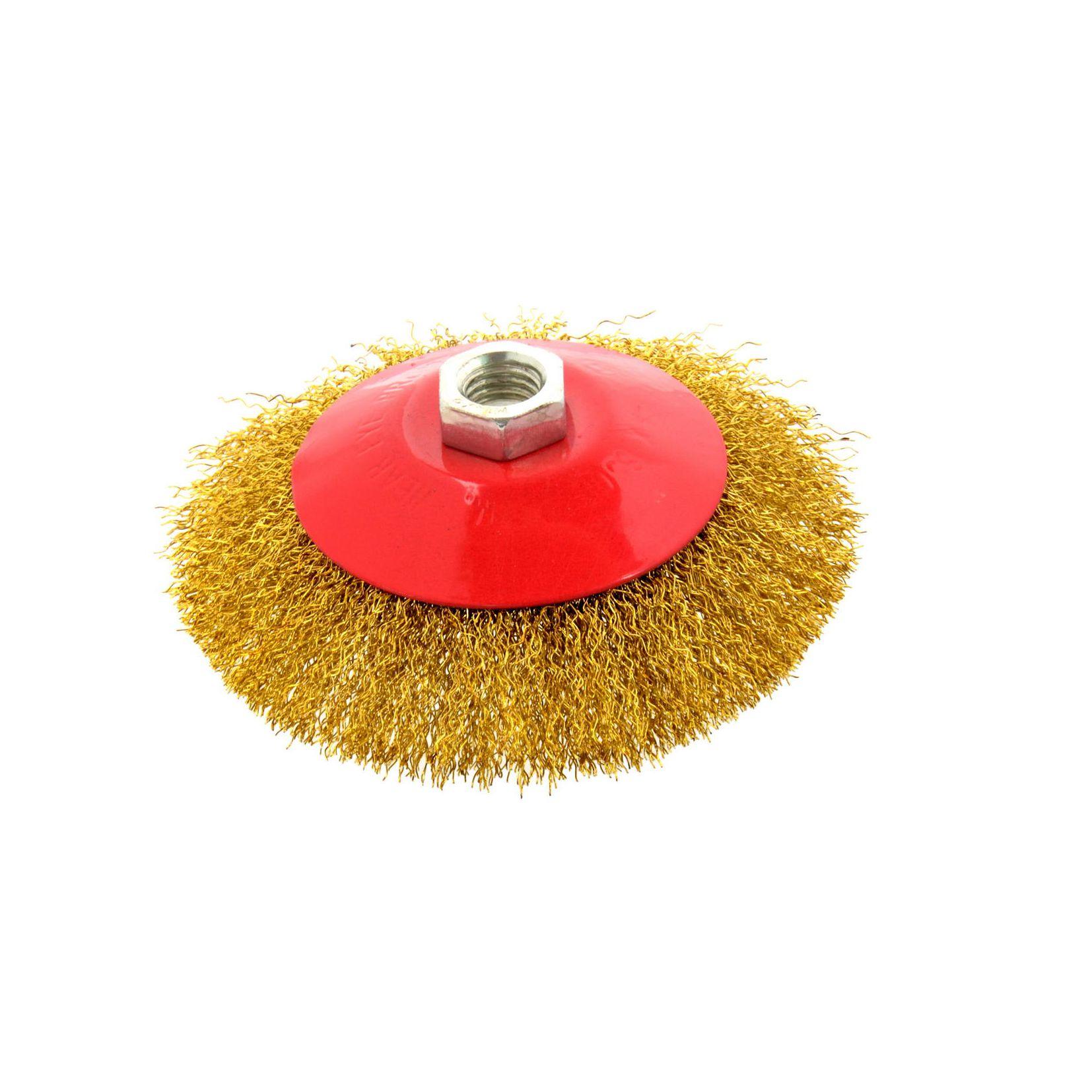 Szczotka druciana obrotowa boczna 125 mm, mosiądz, M14 Geko 1
