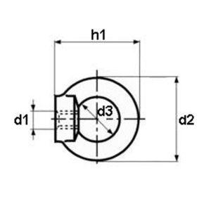 Nakrętka z uchem, INOX A2 [DIN582]