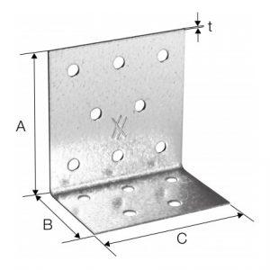 Złącze kątowe perforowane ANPS Simpson 42x42x25 mm szkic